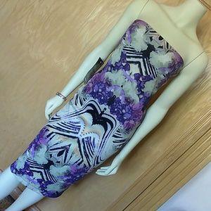 Sexy Bebe NWT midi dress S strapless lavender blk